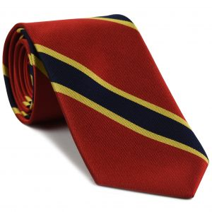 Navy Blue & Yellow Gold on Red Trad Special Stripe Silk Tie #RST-4