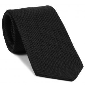 Black & Midnight Blue Cashmere/Silk Grenadine Grossa Silk Tie #SCGGT-1