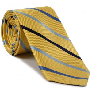 Midnight Blue, Light & Bluish Violet on Yellow Corn English Stripe Silk Tie #SST-4