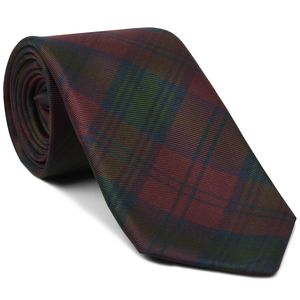 Lindsay Tartan Silk Tie #TAT-8  Dark Navy Blue, Forest Green & Burgundy