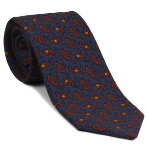 Red, Orange, Blue & Green on Slate Blue Macclesfield Printed Wool Tie #MCWT-11