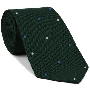 Forest Green Grenadine Fina Silk Tie (1,4) - Hand Sewn Pin Dots Silk Tie #GFDT-16