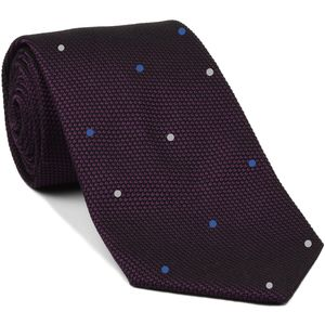 Dark Purple/Black Grenadine Fina Silk Tie (1,4) - Hand Sewn Pin Dots Silk Tie #GFDT-35