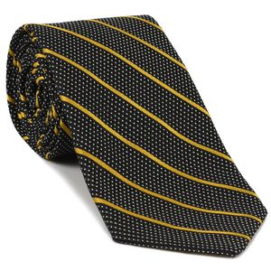 Yellow Gold & Off White On Midnight Blue Grenadine Fina Stripe Silk Tie #2
