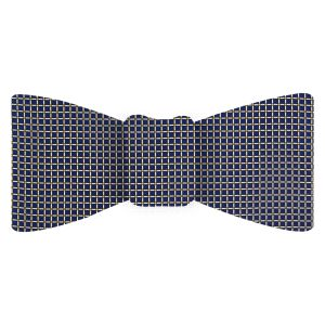 Gold, Black & Off White on Navy Blue Printed Silk Bow Tie #MCBT-656