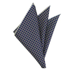 Gold, Black & Off White on Navy Blue Print Pattern Silk Pocket Square #MCP-656