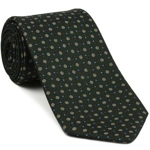 Sky Blue, Off-White & Yellow on Forrest Green Macclesfield Print Silk Tie #MCT-377