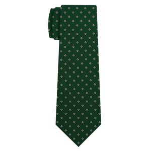White Black Brown On Forest Green Print Silk Tie #MCT-654