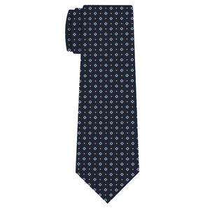White Sky Blue and Light Yellow on Midnight Blue Print Silk Tie #MCT-655