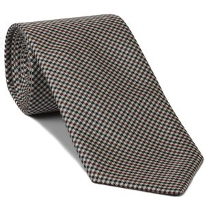 Dark Red, Navy Blue & White Shepherd's Check Silk Tie #SCHT-2