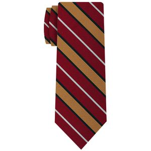 Suffolk Stripe Silk Tie #8 - White, Black & Yellow Gold on Dark Red
