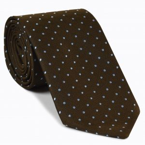Sky Blue Dots on Alpaca Brown Pin-Dot Silk Tie # 10