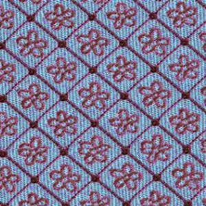 Red on Light Blue English Flower Silk Tie #2