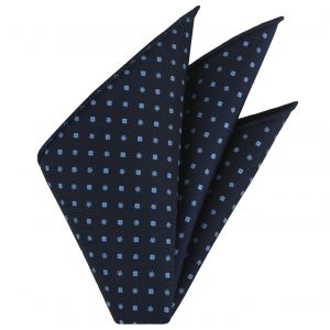 Sky Blue on Dark Navy Blue Macclesfield Printed Silk Pocket Square #9
