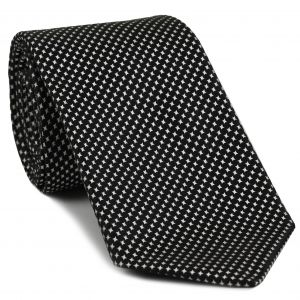 White on Black English Pattern Silk Tie #1