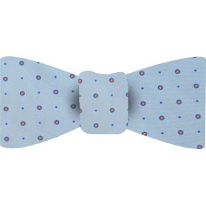 Blue & Orang on Light Blue Macclesfield Printed Silk Bow Tie #21
