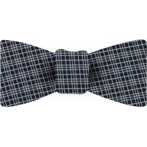 White On Midnight Blue Macclesfield Silk Bow Tie #70