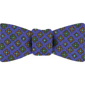 Brown / Forest Green / Sky Blue & black on Navy Blue Macclesfield Printed Silk Bow Tie #82