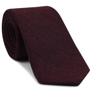 Black & Burgundy Herringbone Wool Tie # 2