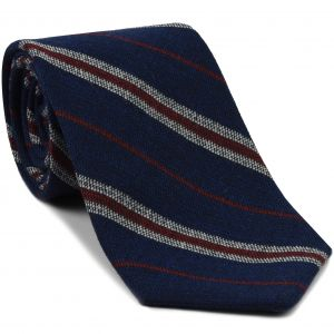 Dark Red & Off White Stripes on Dark Navy Blue Wool Tie # 4