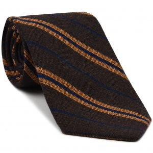 Orange & Navy Blue Stripes on Dark Camel Wool Tie # 7