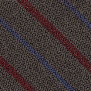 Red & Light Lavender Stripes on Camel Wool Tie # 8