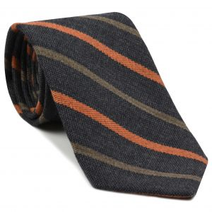 Rust & Camel Stripes on Dark Charcoal Gray Wool Tie # 9