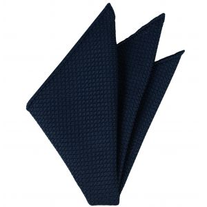 Navy Grenadine Silk Pocket Square #11