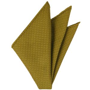 Dark Gold Grenadine Silk Pocket Square #28