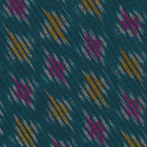 Yellow / Pink & White on Ocean Green Mudmee Silk Tie #40