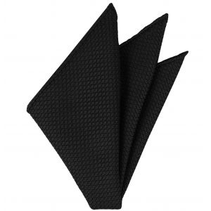 Black Grenadine Silk Pocket Square #7