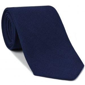 Macclesfield Challis Navy Solid Wool Tie #5