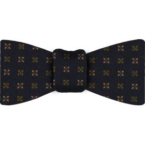 Midnight Blue Pattern Challis Wool Bow Tie #1