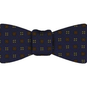 Navy Pattern Challis Wool Bow Tie #2