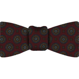 Dark Red Pattern Challis Wool Bow Tie #5