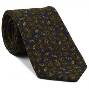 Brown / Burnt Orange / Green & Off-White on Navy Blue Paisley Pattern Challis Wool Tie #8