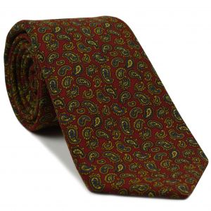 Orange / Sky Blue / Green & Light Yellow on Red Paisley Pattern Challis Wool Tie #9