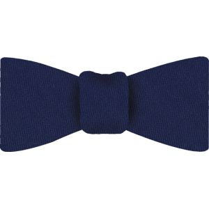Dark Blue Solid Challis Wool Bow Tie #6