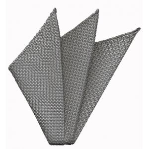 Charcoal Gray/Silver Grenadine Silk Pocket Square #21