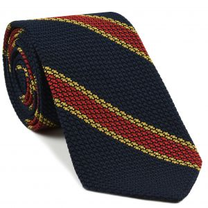 Red & Yellow gold Stripes on mid night blue Grenadine Tie #14