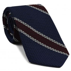 Burgundy & White Stripes On Midnight Blue Grenadine Tie #15