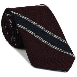 Midnight Blue & White Stripe On Burgundy Grenadine Tie #GGST-16