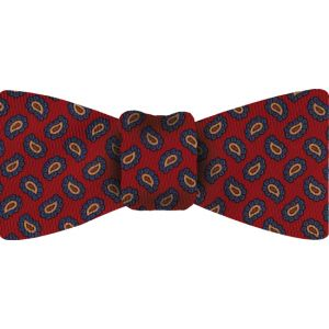 Blue / Peach & Burnt Orange on Red Macclesfield Madder Printed Silk Bow Tie #16