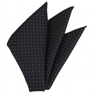 Burnt Orange & Sky blue on Midnight Blue Macclesfield Printed Silk Pocket Square #MCP-91