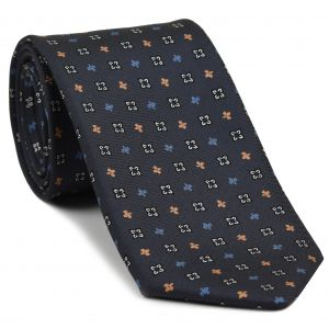 White, Blue, Powder Blue & Orange on Medium Charcoal Gray Macclesfield Printed Silk Tie #MCT-107