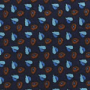 Sky Blue / Light Blue & Rust on  Dark Navy Blue Macclesfield Printed Silk Tie #13