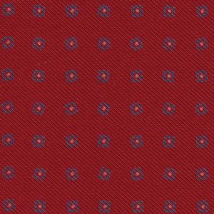 Sky Blue / Off-White with a touch of Red on Light Red Macclesfield Printed Silk Tie #130