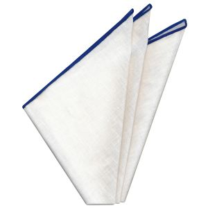 White Belgian Linen Pocket Square with Navy Blue Contrast Edges