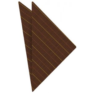 Dark Chocolate / Chocolate & Yellow Atkinsons Striped Irish Poplin Pocket Square #54