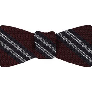 Midnight Blue & White Stripe On Red Grenadine Tie #17Midnight Blue & White Stripe On Red Grenadine Bow Tie #17
